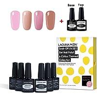 Lagunamoon Base Coat Nail Polish Nail Art Pen Soak off UV LED Gel Nail Polish Pen (6pcs gel nail polish)