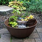 Aquascape 78325 AquaGarden Pond and Waterfall Kit Container Water Garden, Measures 23. 5-inch in Diameter and 9 7/8-inch Tall