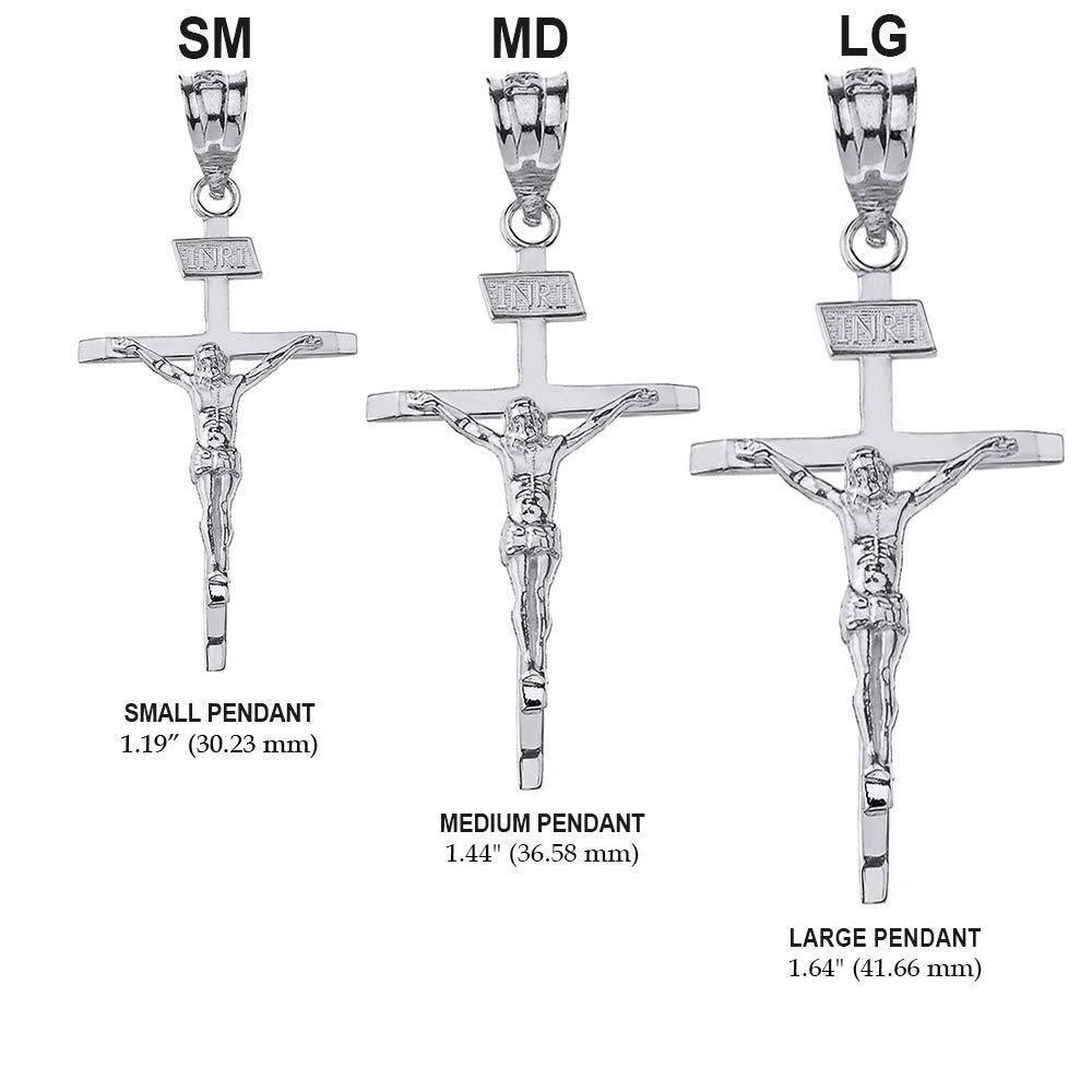1.19 925 Sterling Silver Catholic Jesus Christ on INRI Crucifix Cross Pendant Necklace