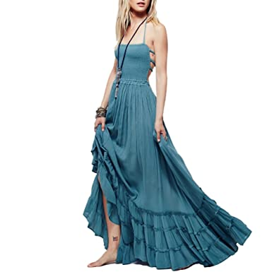 37f89e0651 Women s Summer Long Sexy Backless Halterneck Boob Tube Top Evening Party A  Line Maxi Dress  Amazon.co.uk  Clothing