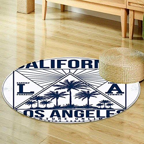 Small Round Rug Carpet Los Angeles California Typography for t Shirt Print Vector Illustration  Door mat Indoors Bathroom Mats  Non Slip -Round 55