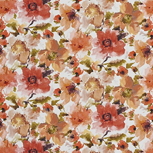 B0460C Orange and Green Large Floral Patterned Print Upholstery Fabric By The Yard