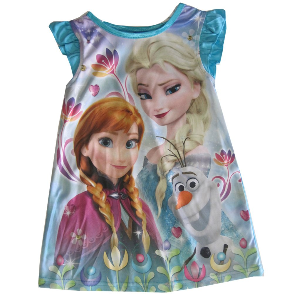 Disney Little Girls Blue Frozen Elsa Anna Olaf Print Nightgown 2T-4T ABC Brand Name Inc.