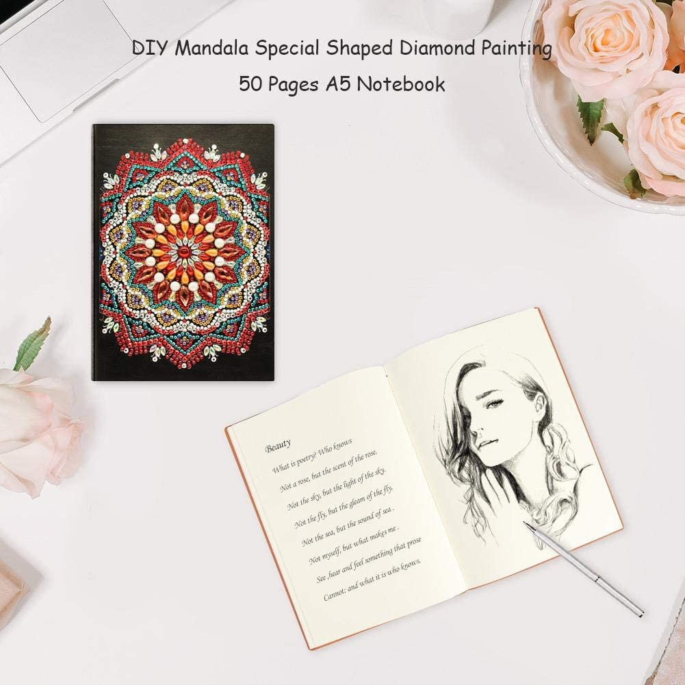 DIY Mandala Special Shaped Diamond Painting Notebook 50 Sheets A5 Notizbuch Deko