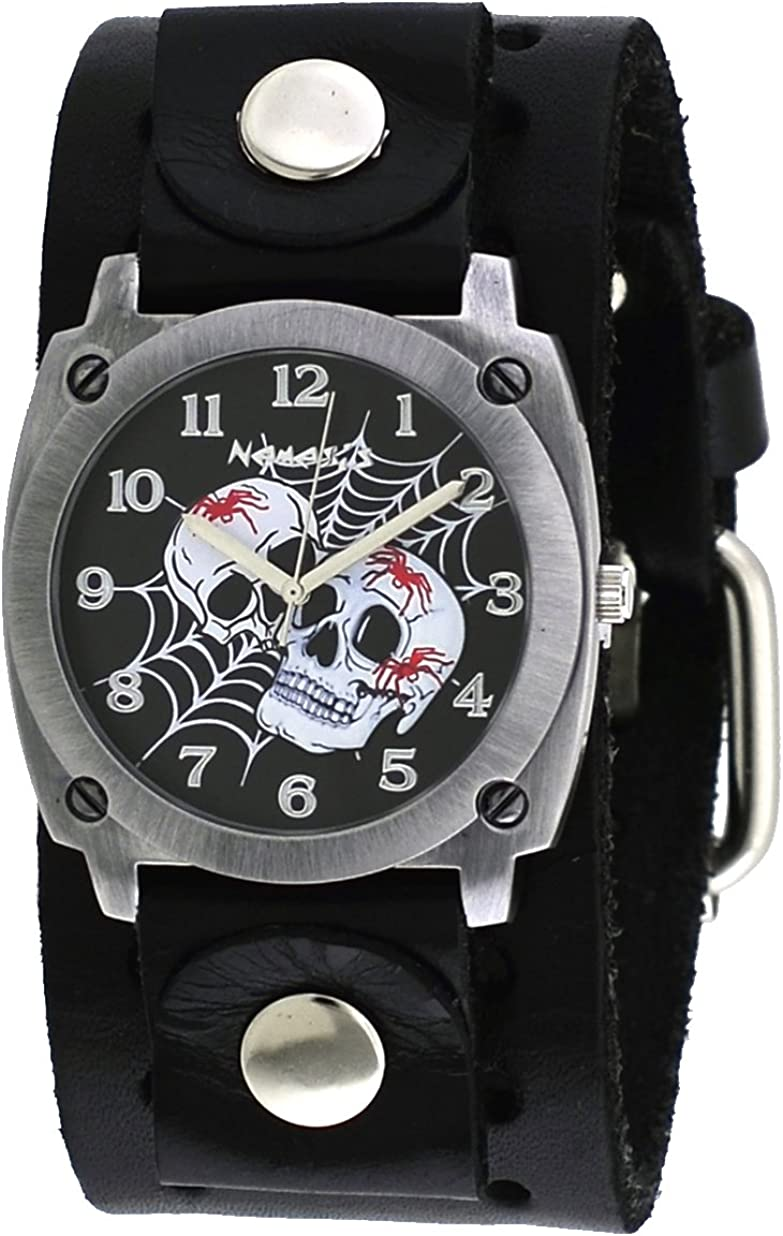 Nemesis B931K Men s Web of Skulls Wide Black Leather Cuff Band Watch
