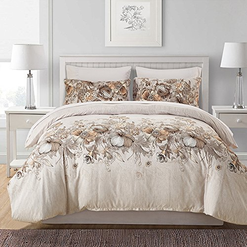 UNAOIWN Microfiber Duvet Cover Set 3 Piece Comforter Quilt Cover Brushed, Ultra Soft and Easy Care, Simple Style Bedding Set (Queen, Sketch Floral, Beige) (It Covers Duvet Means What)