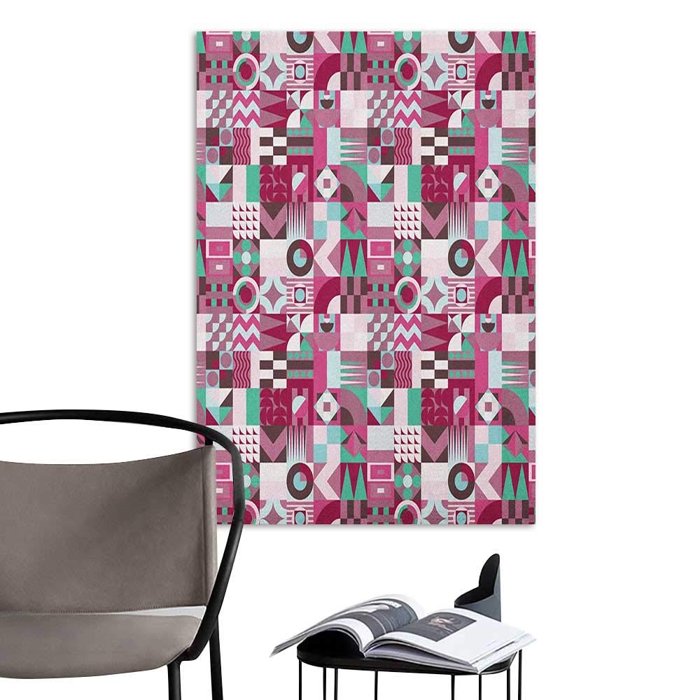 Wall Sticker self-Adhesive Mid Century Rich Collection of Motifs from Fifties Groovy Unusual Forms Checkered Design Multicolor Kitchen Room Wall W20 x H28
