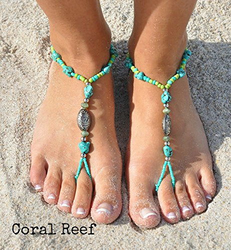 Reef Coral Bracelet - SunSandals Barefoot Sandals Foot Ankle Jewelry Anklets Bracelets - Coral Reef - Small