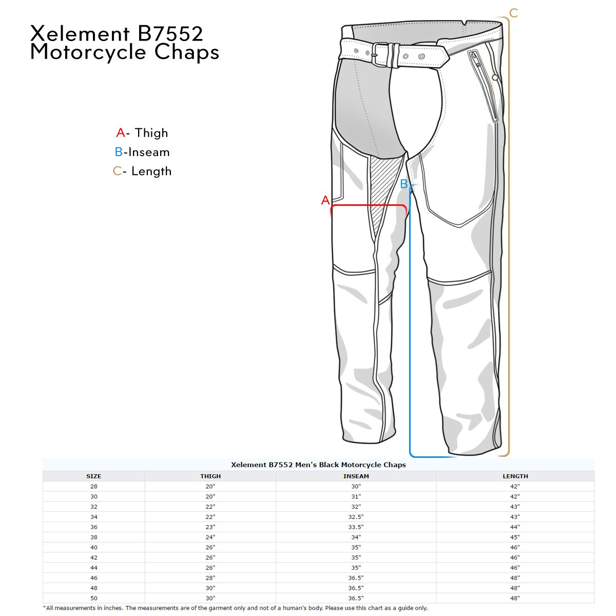Xelement B7552 Mens Black Easy Fit Premium Motorcycle Chaps - 40