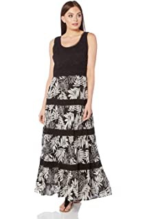 705db6ca81 Roman Originals Women Tropical Contrast Dress - Ladies Maxi Sleeveless  Festival Bohemian…