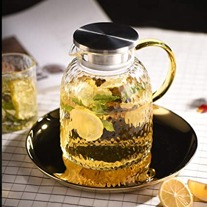 Amazon com | WarmCrystal, The Glass Water Pitcher with Lid