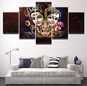 NHGBV 5 Pieces HD Print Painting Shiva Parvati Ganesh Poster Modular for Modern Decorative Bedroom Living Room Home Wall Art Decor