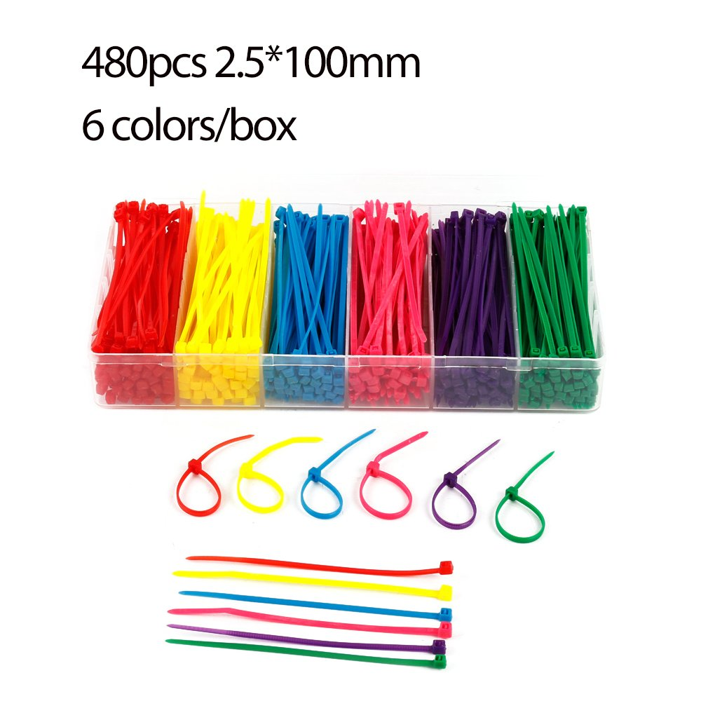 "Blue, Red, Green, Yellow, Black, White 4/"" Nylon Cable Ties Multi-Color"