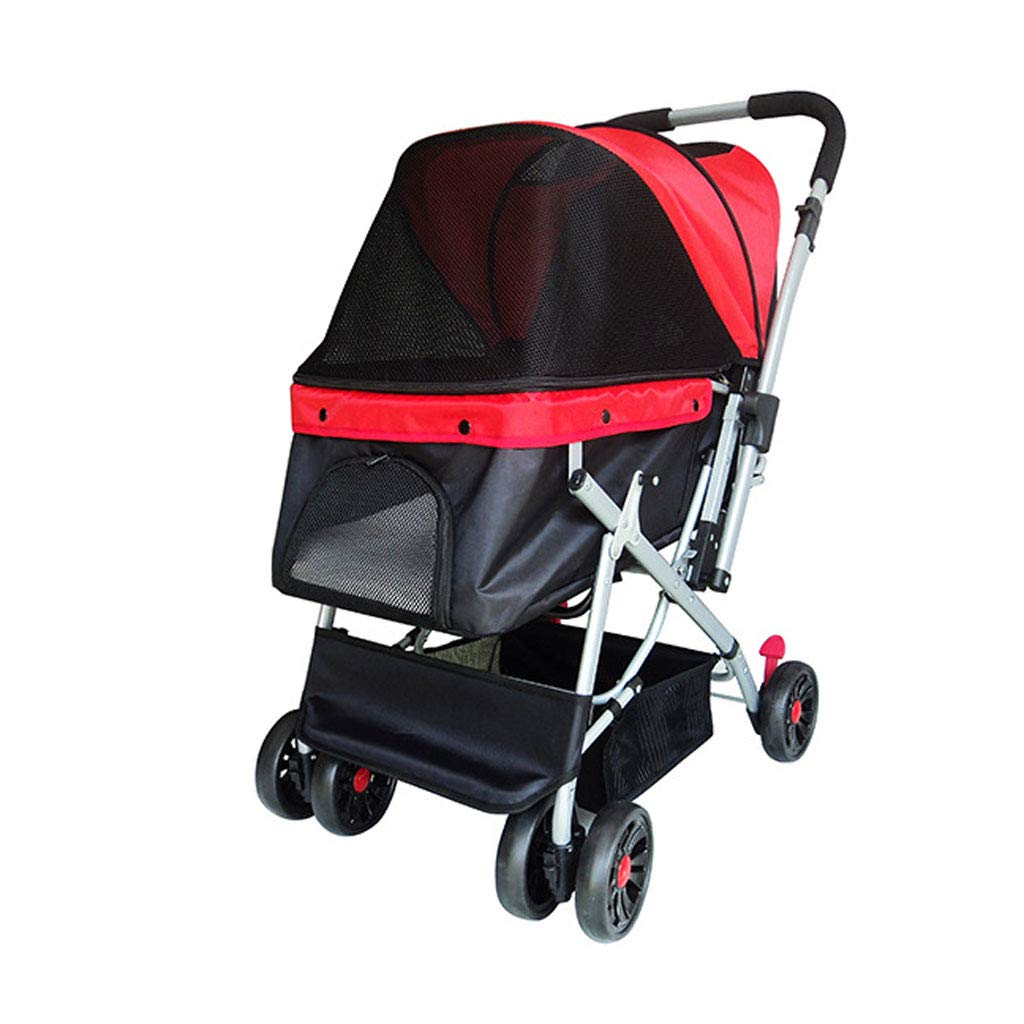 Red GWM Wheels Travel Stroller Dog Cat Pushchair Trolley Jogger Rear Brakes Maximum Load 20kg (color   RED)