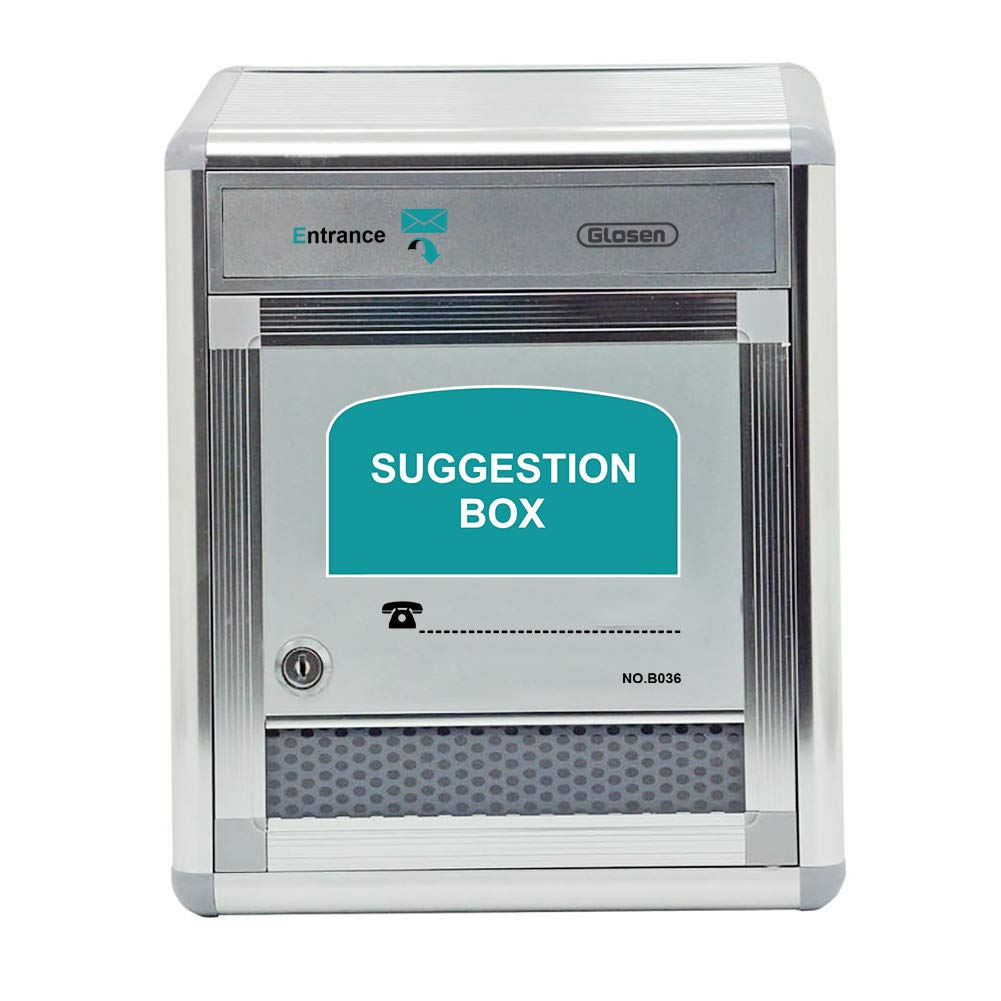 Glosen Suggestion Box with Lock Wall Mounted, Mailbox, Donation Box, Drop Box for Small Office, Customer Center, School, Hospital, Hotel, Medium Size, Silvers
