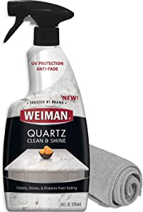Weiman Quartz Countertop Cleaner and Polish - 24 Ounce with Microfiber Cloth - Clean and Shine Your Quartz Countertops Islands and Stone Surfaces with UV Protection