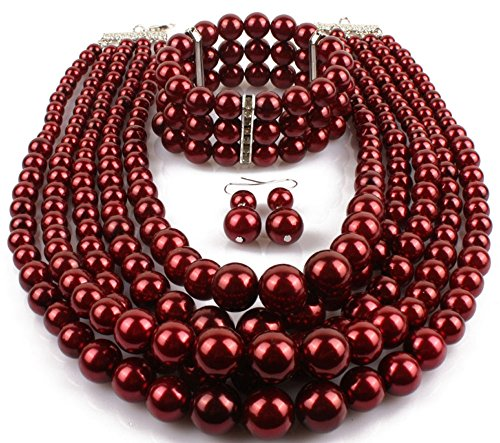 (Shineland Elegant Multilayers Simulated Pearl Strand Cluster Collar Bib Choker Costume Jewelry Sets (Dark red))