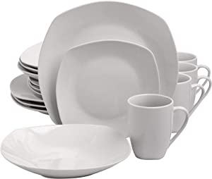 Gibson Home Back to Basics Dinnerware Sets, Square: Service for Four (16pcs), Classic Pearl