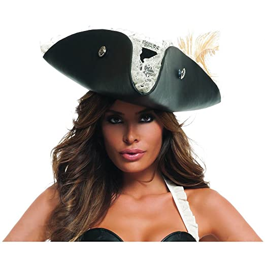 Deluxe Adult Womens Black Faux Leather Pirate Hat Halloween Fancy Dress Costume Accessory with White Ruffle Trim and Silver-tone Button Accents by Buckle