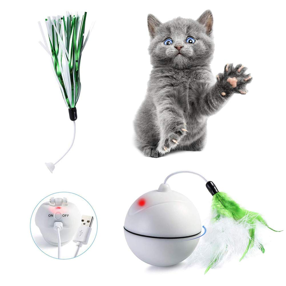 Hihey Juguetes para Gatos mejorados Recargable 360 Grados giratorios LED Gatos interactivos Pelota de Juguete Cat Chaser Ball con Pluma Desmontable y Cinta de Color