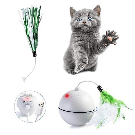 Mallalah Juguete con Forma de Bola LED para Gato, con Juguete extraíble, Recargable y