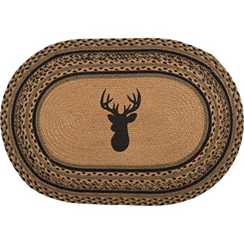 VHC Brands Classic Country Rustic & Lodge Flooring-Trophy Mount Tan Oval Jute Rug, 1'8
