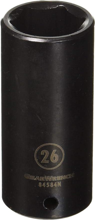 GearWrench 84538N 1//2 Drive 6 Point Standard Impact Metric Socket 26mm Black