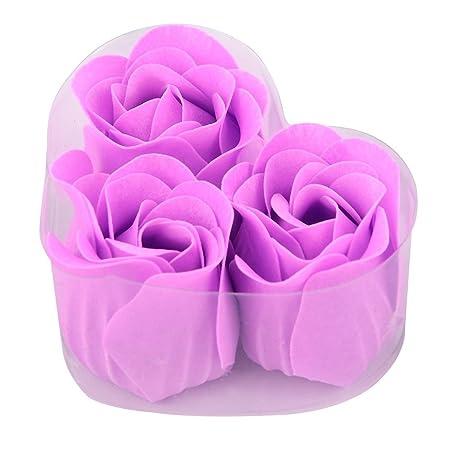 Amazon.com: eDealMax Corazón Regalo del Festival Diseñado caja Artificial Artificial Wash Soap Flor púrpura 6pcs Luz: Home & Kitchen
