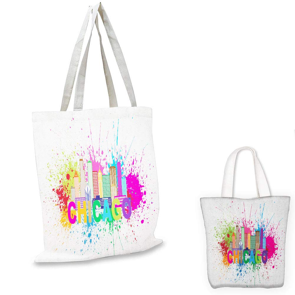 book tote Chicago Skyline Splash of Colorful Paint Background with Text of Chicago and Cityscape Multicolor emporium shopping bag
