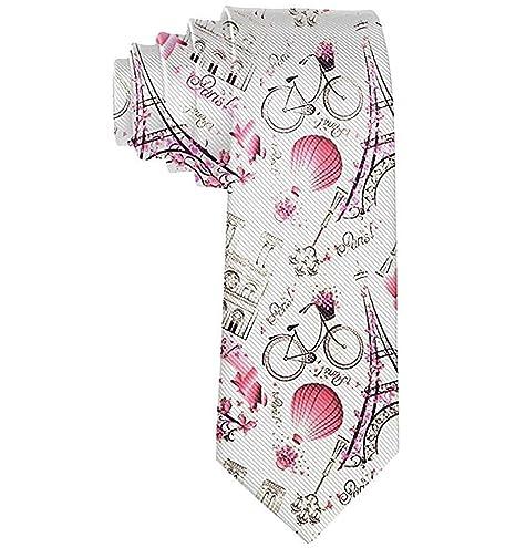 Hombres rosa París torre eiffel y globo novedad corbata ideal para ...