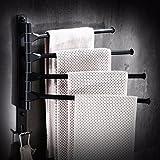 Yomiokla Bathroom Accessories - Kitchen, Toilet, Balcony and Bathroom Metal Towel Ring from Punch Black Swivel Aluminum 4-Space.