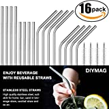 Stainless Steel Straws FDA-Approved Ultra Long 8.5'' and 10.5'' Drinking Metal Straws for 20oz 30oz Stainless Tumblers Rumblers Cold Beverage (8 Straight + 8 Bent + 4 Brushes)