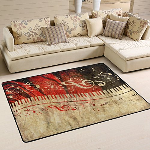 Vintage Music Note with Piano Keyboard Area Rug Pad Non-Slip Kitchen Floor Mat for Living Room Bedroom 5' x 7' Doormats Home -