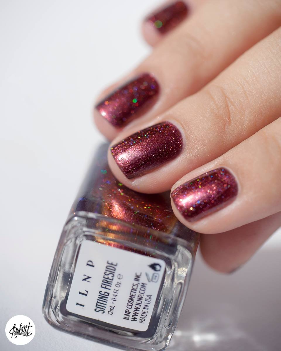 Amazon.com : ILNP Sitting Fireside - Maroon, Orange Holographic Nail ...