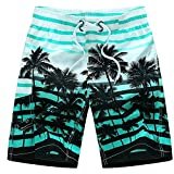 Yete Men's Colorful Stripe and Coconut Tree Printing Beach Board Shorts