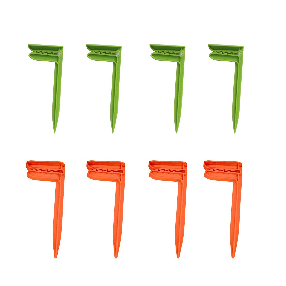 Wenosda Beach Towel Anchor Stakes Clips Blanket Picnic Fasten Pegs Set for Camping Travel Beach Day Green Orange