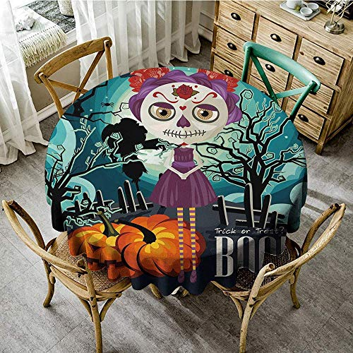 DONEECKL Easy Care Tablecloth Halloween Cartoon Girl with Sugar Skull Makeup Retro Seasonal Artwork Swirled Trees Boo Party D39 Multicolor]()