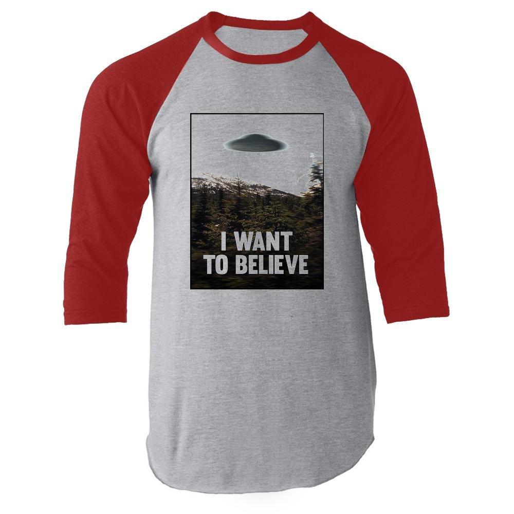I Want To Believe UFO Aliens Funny Sarcastic Apparel Raglan Baseball Tee Shirt