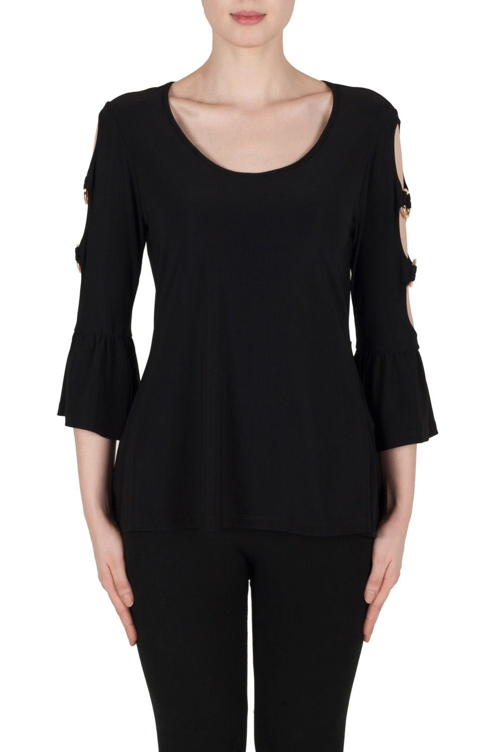 Joseph Ribkoff Black Top With Bell-Style Sleeves Style 173104, Size 4