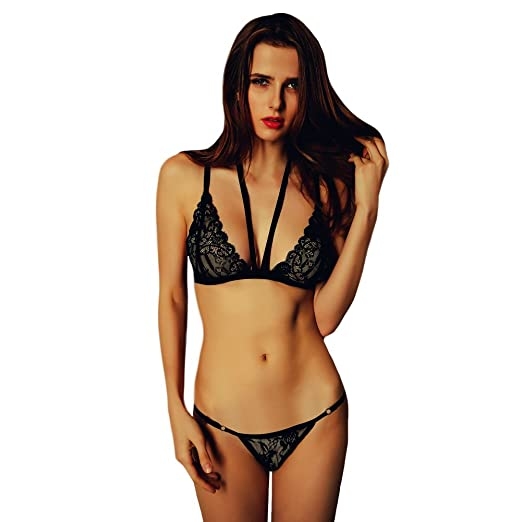 Romacci Sexy Women Lingerie Set Bra Sheer Lace Adjustable Strap Underwear  at Amazon Women s Clothing store  7295b6d33