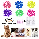 CiaraQ 120Pcs Colorful Soft Cat Nail - Caps Claws Control Paws Of 6 Caps Protect Furniture+ 6 Adhesive Glue (S)