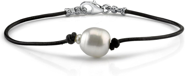 12 mm Australian blanco perlas cultivadas barrocas del Mar del Sur - pulsera de cuero de calidad AAAA