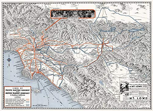 Railway Pacific Electric Map (Historic Map | Lines of The Pacific Electric Railway and Motor Transit Company in Southern California. 1933 | Historical Antique Vintage Decor Poster Wall Art | 61in x 44in)