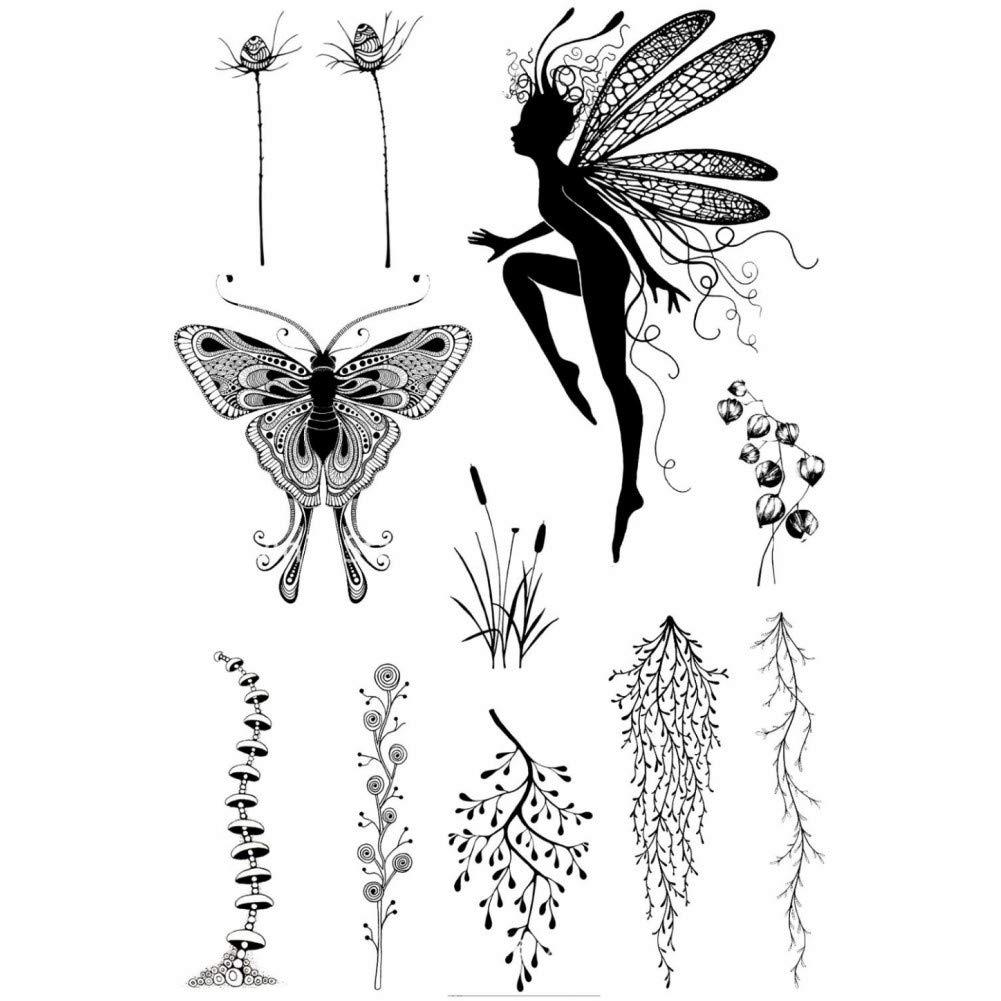 MHTEAAIIO /Ángulo Mariposa Sellos Transparentes Transparentes//Sellos de Silicona para /álbum de Fotos DIY Scrapbooking//Fabricaci/ón de Tarjetas