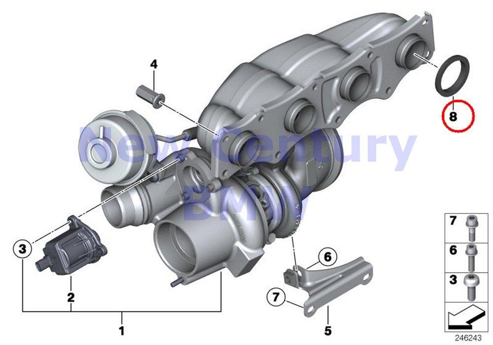 2 X BMW Genuine Turbo Charger Gasket Ring X1 28i X1 28iX Z4 28i 528i 528iX 528i 528iX X5 40eX 228i 228iX 228i 228iX X3 28i X3 28iX X4 28iX 320i 320iX ...