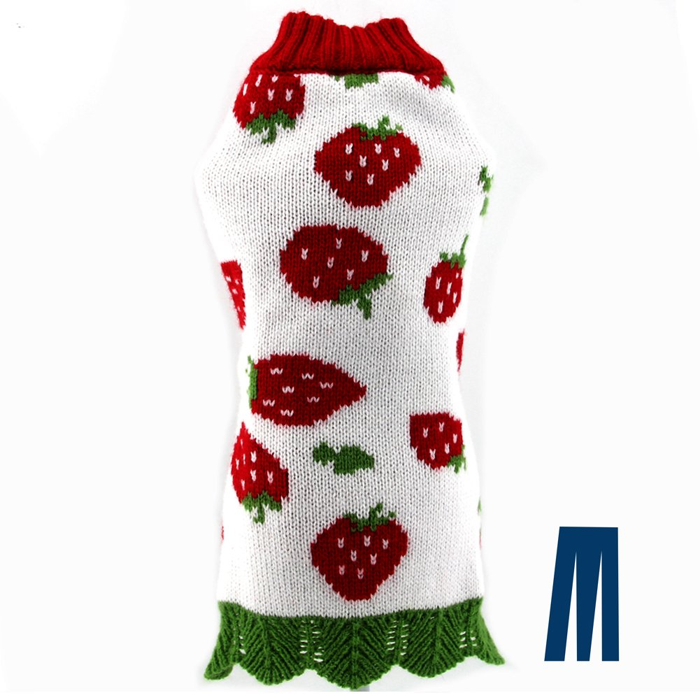 L Mikayoo Dog Holiday Sweater, Cat ChristmasSweater, Pet Xmas Sweater, Strawberries Pattern Design Cold Weather Coat, Holiday Festive Sweater for Small Dogs or Cats(L)