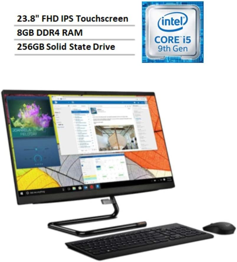 "2020 Newest Lenovo IdeaCentre A340 multitouch All in one Desktop: 23.8"", i5-9400T, 8GB DDR4 RAM, 256GB SSD, DVD-RW Burner, Win 10 Home"