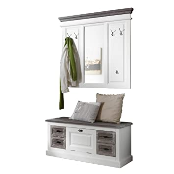 Wunderbar BFK Möbel Garderoben Set Cabana 5 Mattweiß Landhaus Fichte Massiv