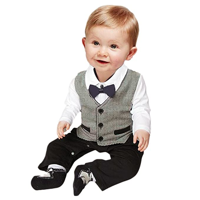 Amazon.com: Baby Formal Romper Jumpsuit for 0-18 Months Long ...