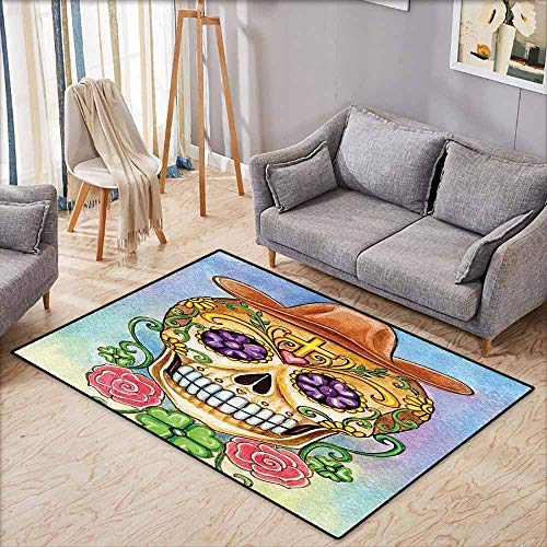 Floor Rug Pattern Day of The Dead Decor Dia de Los Muertos Celebration Spanish Skull Mask Like Art Print Multicolor Quick and Easy to Clean W5'9 -
